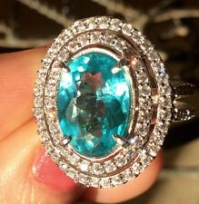 Imperial Apatite earth mined gem 3.39ct Sterling Silver platinum over ring 6.25