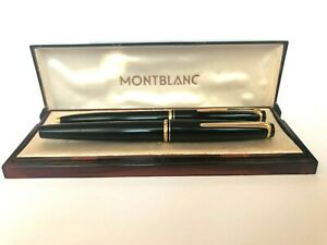 Vintage Montblanc 22 14K Gold Nib Fountain Pen & 28 Ballpoint Pen Lever Clip Set