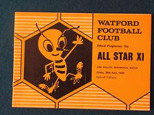 Ron Rollitt Testimonial Programme - 30/4/76 - Watford v All Star XI
