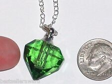 1 Glass Heart pendant cremation ashes perfume bottle Screw cap Necklace Lt Green