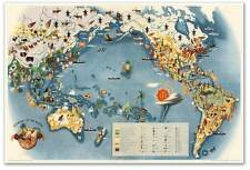 Big WORLD MAP Art Print by Miguel Covarrubias ECONOMY OF THE PACIFIC circa 1940