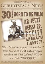 Glückwunschkarte zum 30.Geburtstag-s-News*Hund*Zeitung Grußkarte mit Humor