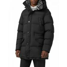 New Auth Burberry $1350 Hartson Hooded Quilted Down Puffer Coat, Black,Size US46