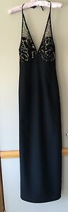 Ladies EVENTS Formal Dress Size 6 Brand New Sequins Halter Fully Lined -  Black