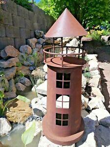 XL Großer Leuchtturm Windlicht  Metall Edelrost Gartendeko Teich 62 cm Windlicht