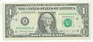 1988-A $1 US Note GEM UNC Fancy 7 of a Kind H 44444441 B 7/8 NEAR SOLID SERIAL