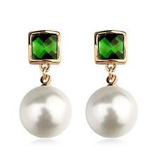 18k Rose Gold Filled Emerald Green Crystal White Pearl Dangle Earring XE70