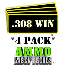 """.308 WIN Ammo Label Decals Ammunition Case 3"""" x 1"""" Can stickers 4 PACK -YWbkRD"""