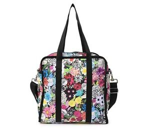 Lesportsac Gabrielle Box Tote Bag Travel Floral Delight Flowers NWT