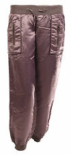 Womens Ladies Satin Silky Low Rise Casual Trousers Stretch Shiny Pants HAREM 12 Bronze
