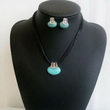 Antique Silver Plated Waterdrop Turquoise Necklace Earrings Women Jewelry Set