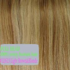 US SALE Clip In 100% Real Long Silky Remy Human Hair Extensions Full Head P967