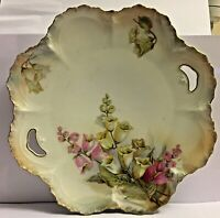"""ANTIQUE R. S. PRUSSIA (RED MARK) w HANDLES *  LILLY OF THE VALLEY PLATE 10"""" DIAM"""