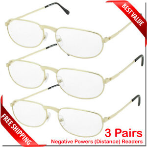 NEARSIGHTED NEGATIVE POWER READING GLASSES 3 PAIR FOR DISTANCE MYOPIA BULK LOT