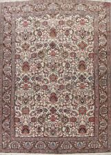 Traditional All-Over Ivory Vintage Oriental Floral Hand-Knotted Area Rug 10x13