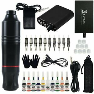Complete Tattoo Pen Kit Professional Javelin Machine Starter Set GUN 10 Ink