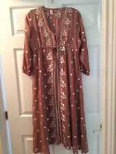 Mo Huan Yi Chu Chocolate Rose Embroidered Boho Maxi Dress XL