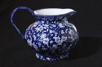 "Blue & White Pitcher~Chelsea Art Pottery~6""H x 7&1/2""across~Blue Long Flower Pat"