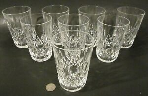 "SET 8 Vintage WATERFORD CRYSTAL ""LISMORE"" Cut Glass 5"" 12 oz Tumbler Glasses"