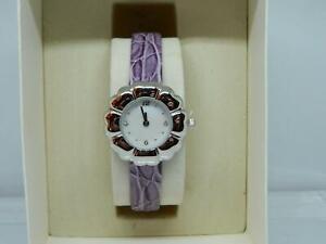 PAST TIMES Women's Rhodium Plated Petal shape  MOP Dial Purple strap watch