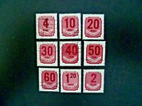 Hungary 1951 Nine Stamps Postage Due Issue Used - See Description & Images