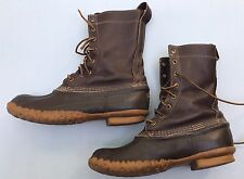 LL Bean Boots 8 Brown Rubber Wellies Waterproof Men's Shoes Rain