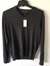 Banana Republic Mens Gray V-Neck Luxury Blend Sweater Silk Cashmere size S $70