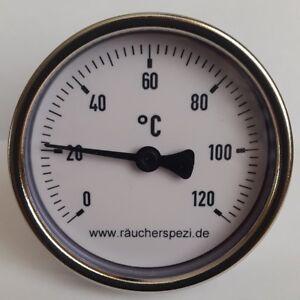 2 STÜCK Bimetall Thermometer 0-120°C Fühler 40mm Räucherthermometer Räucherei