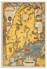"""Large Picture Art Print MAP of New England State of MAINE USA circa 1938 24""""x36"""""""
