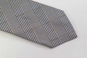 Luciano Barbera Neck Tie NWOT White w/ Blue & Brown Houndstooth Plaid 100% Silk