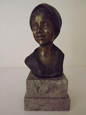 Antique Bronze Buste de jeune fille avec foulard-Giovanni DE MARTINO-signé