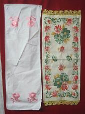 Linen 2 Table Runners Dresser Scarves Embroidered Roses printed Morning Glories