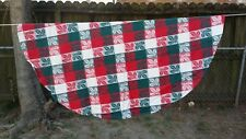 """Red Green White Holly Christmas Plaid 0Val 56""""X52"""" Tablecloth Free Shipping"""