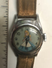 VINTAGE 1950's DISNEY CINDERELLA WRIST WATCH WITH Leather Band 'US Time'
