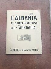 """VECCHIA CARTINA L'ALBANIA  LINEE MARITTIME DELL'""""ADRIATICA"""" NAVI SHIPS OLD MAP"""