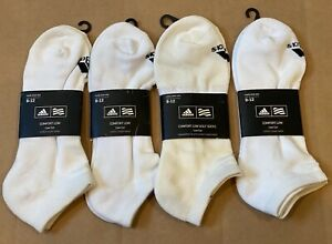 Adidas Men's Comfort Low Cut Sock Pack Lot White/Black 4-Pairs NEW #21213