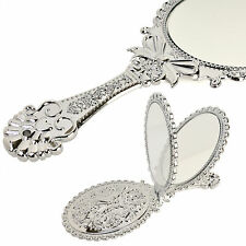 Vintage Antique Style Oval Round Silver Hand Held Vanity Mirror Folding Standing