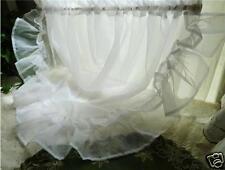 One Piece of White Sheer Half Round Valance Curtain Ruffle Edge Window Decor