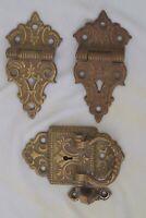 Ornate Antique Ice Box Hardware Set 2-Hinges, 1 Handle & Latch Brass Bronze 1897