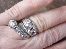 14 KT White Baguette & Round CZ Cigar Band Domed Wide Ring.......NEW
