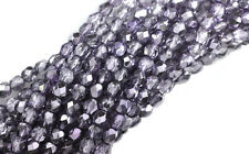 100 Lilac Metallic Faceted Round Glass Beads 4MM