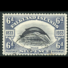 FALKLAND ISLANDS 1933 6d Fin Whale. SG 133. Fine Used. Sm Spot on Reverse(WE767)
