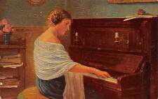 Embossed Relief Painting, Woman Play Piano, Andante, Gluecklich