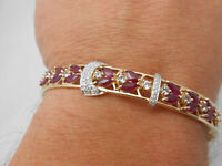 "Gorgeous 14k Solid Yellow Gold Marquise Ruby & Diamond Bangle Bracelet 8-8.5"""