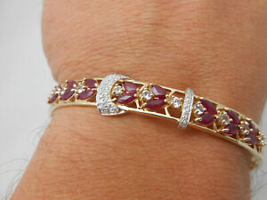 Gorgeous 14k Solid Yellow Gold Marquise Ruby & Diamond Bangle Bracelet 8-8.5""