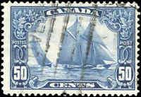 "Stamp Canada Used 1929 50c F+ Scott #158 ""Bluenose"" King George V Scroll"