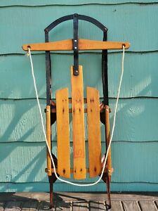 Vintage GLADDING SPEEDY wooden sled sleigh paris floating steering snow ❄