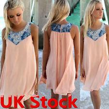 BOHO Ladies Sleeveless Party Tops Womens Summer Beach Swing Dress UK Size 6-22