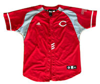 ADIDAS CINCINNATI REDS BASEBALL JERSEY YOUTH X LARGE (18-20) w/BUTTONS Red