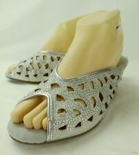 Joan Boyce Wos Shoes Heels 402114 US 8 M Silver Fabric Jeweled Bridal Wedding 31